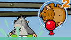 A guinea pig in water in a rubber ring, with another guinea pig floating above in a bubble.