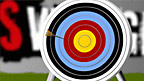 An arrow stuck into an archery target board.