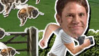 Steve Backshall running from a swarm of bees.