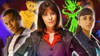Sarah Jane, Clyde and Rani standing in front of some newly created Aliens