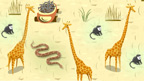 Giraffes, monkeys and a snake in the desert.